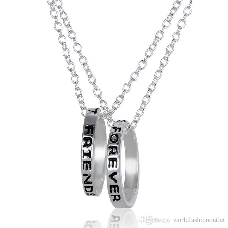 Wholesale Fashion Bff Best Friends Forever 2 Part Love Rings Eternity Necklaces Gold Silver Plated Statement Pendant Necklaces Jewelry Charm Jewellry From World Bff Rings Gift Necklace Love Ring