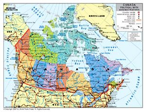 Political Map of Canada with ProvincialState Boundaries by