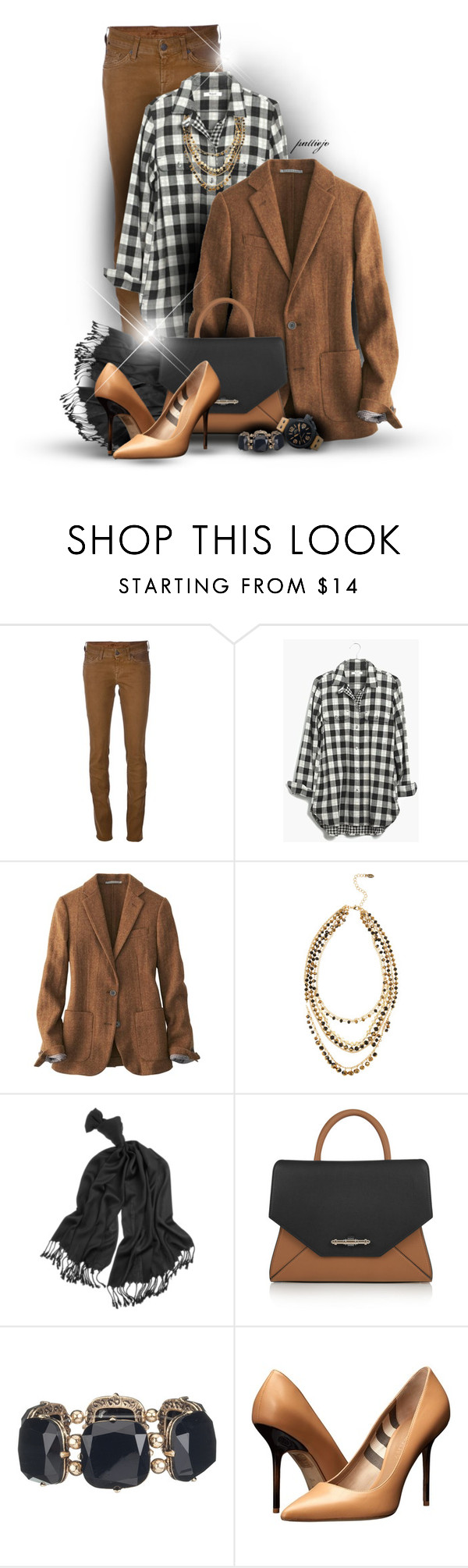 """""""The Ex-Boyfriend Shirt"""" by rockreborn ❤ liked on Polyvore featuring 7 For All Mankind, Madewell, Uniqlo, ALDO, White House Black Market, Givenchy, Burberry, TW Steel, gingham and polyvoreeditorial"""