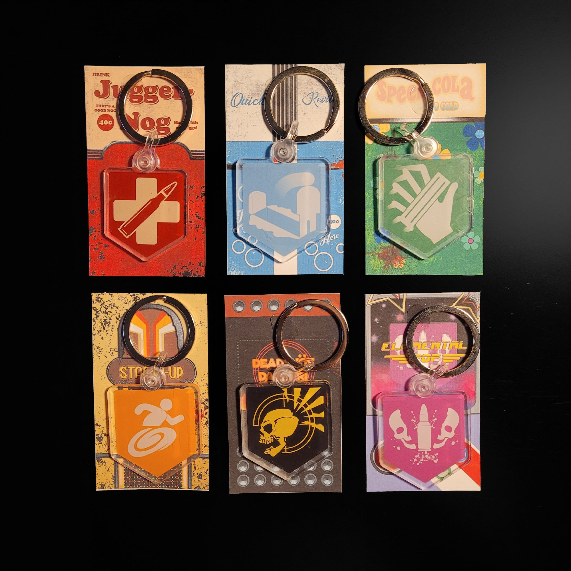 Call Of Duty Cold War Zombies Perks Keychains Juggernog Quick Revive Speed Cola Stamin Up Deadshot Daiquiri Elemental Pop Call Of Duty Call Of Duty Perks Call Of Duty Black