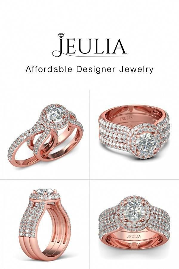 c02cdc9984dbd Jeulia JEULIA Two-in-one Stackable Rose Gold Halo Wedding Ring Set ...