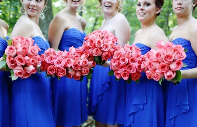 f4675fde0c1 Royal blue and coral wedding