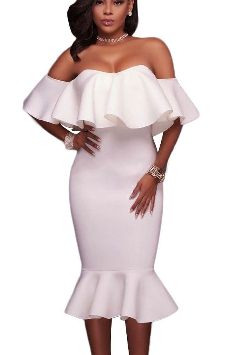 07b65820759 White Ruffle Off Shoulder Mermaid Chic Midi Party Dress