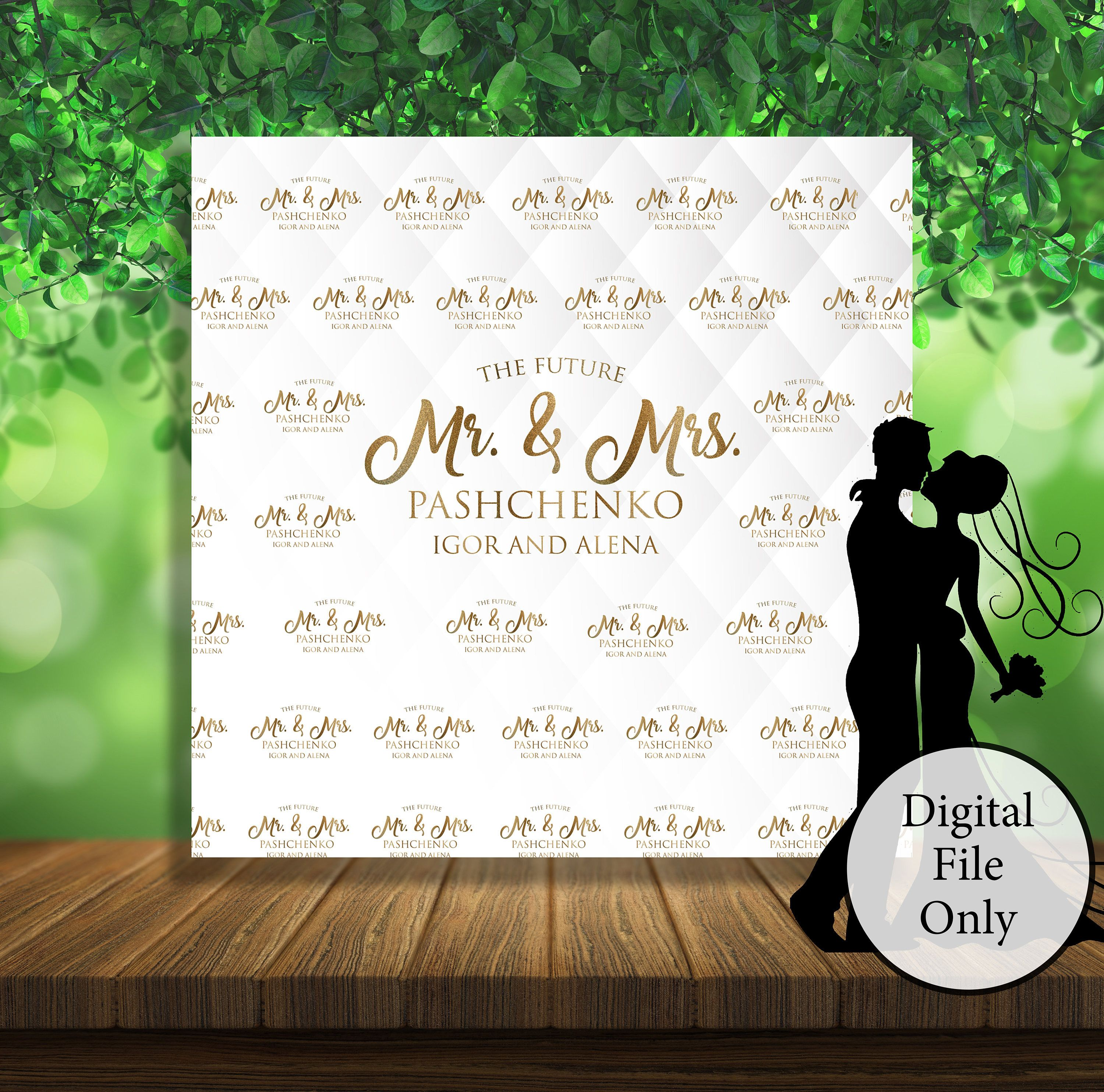 Custom Printable White Wedding Photo Booth Backdrop Gold Glitter Personalized Pa Personalized Party Banner Photo Booth Backdrop Wedding Step And Repeat Wedding