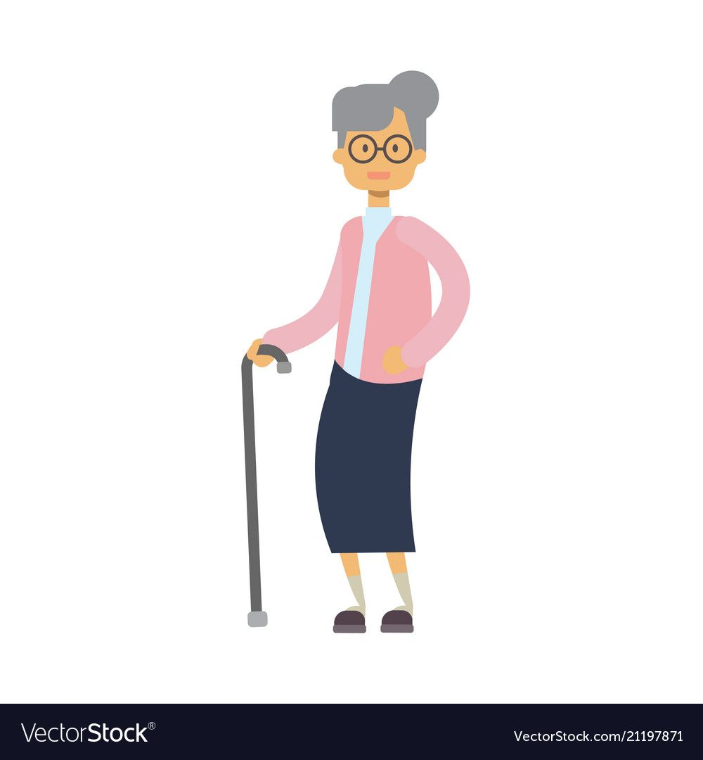Old Woman Walking With Stick Full Length Grandmother On White Background Cute Grandma Tree Of Genus Happy Family Conce Cartoon Design People Walking Png Olds