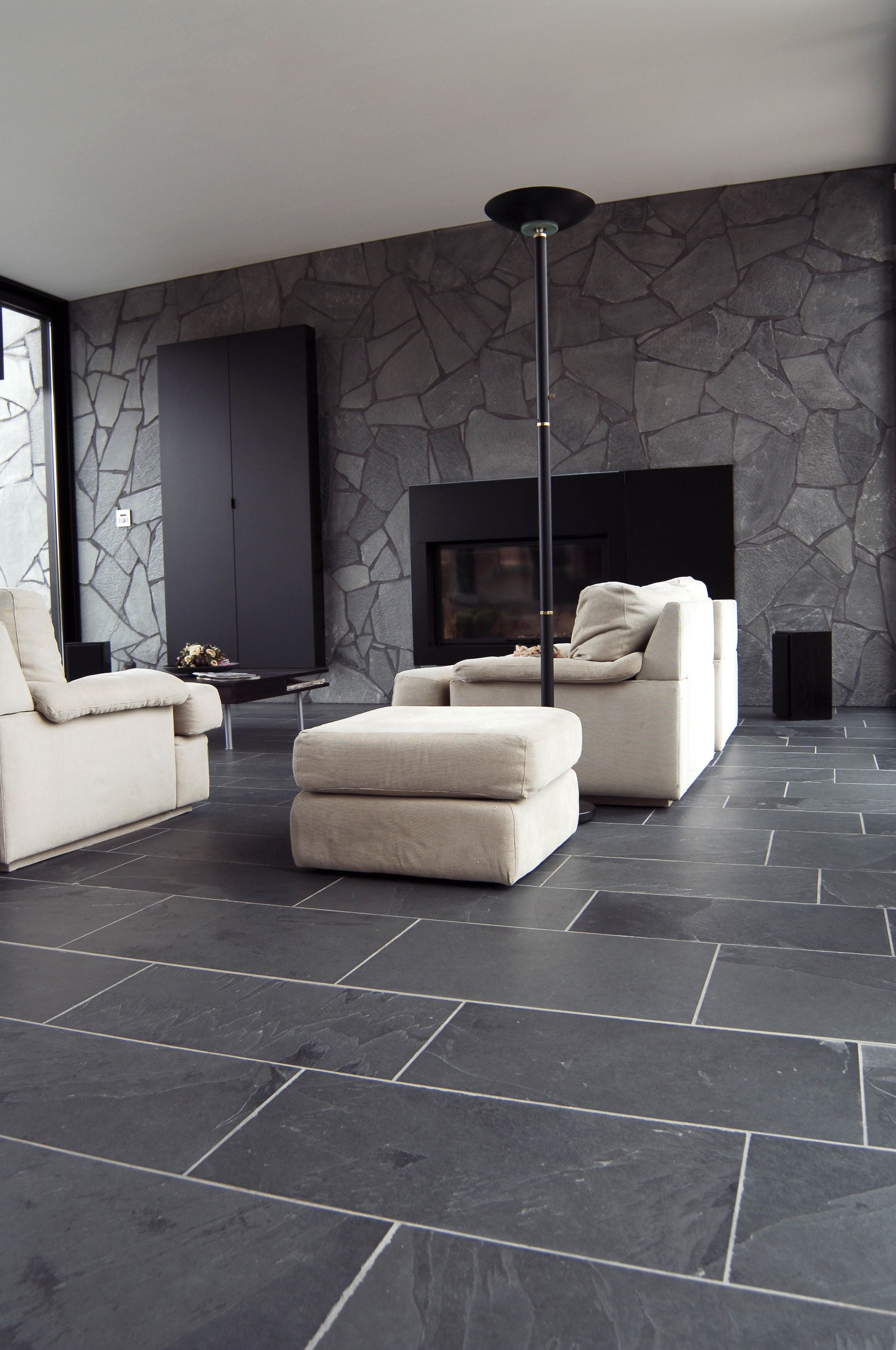 Stone wall stone in interiors pinterest slate spotlight and stone black slate flooring tiles want this in the kitchen sunroom dailygadgetfo Gallery