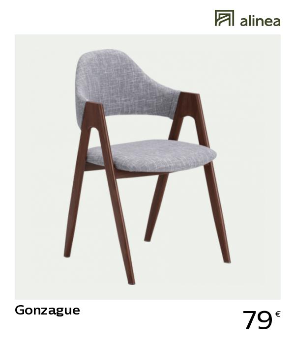 Alinea Decoration Gonzague Chaise En Tissu Gris Clair Pietement Bois Fonce Tissu Gris Chaise Tissu Chaise