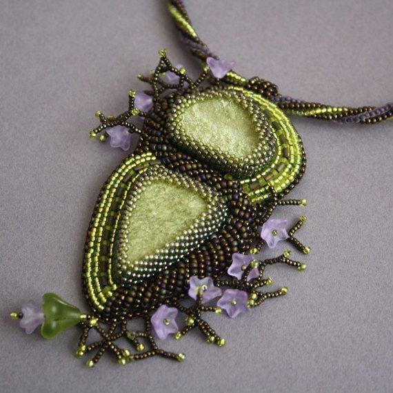 Awakening. Sale!!! Bead embroidery, beading, natural vezuvian, green sparkle natural stones, beading, green violet, flowers, OOAK, pendant