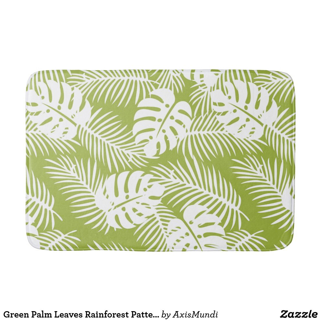 Green Palm Leaves Rainforest Pattern Bath Mat Zazzle Com With