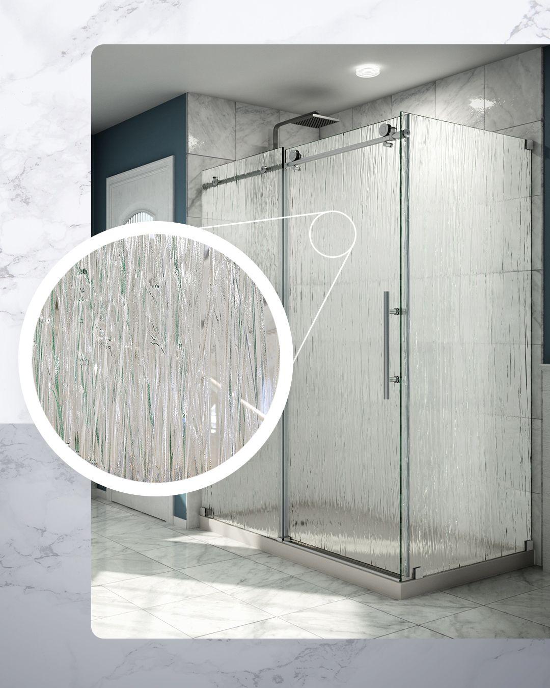 Enhance Your Bathroom Design With A Custom Glass Shower Door From Dreamline With Textured Rain Glass In 2020 Shower Doors Shower Door Designs Glass Shower Doors