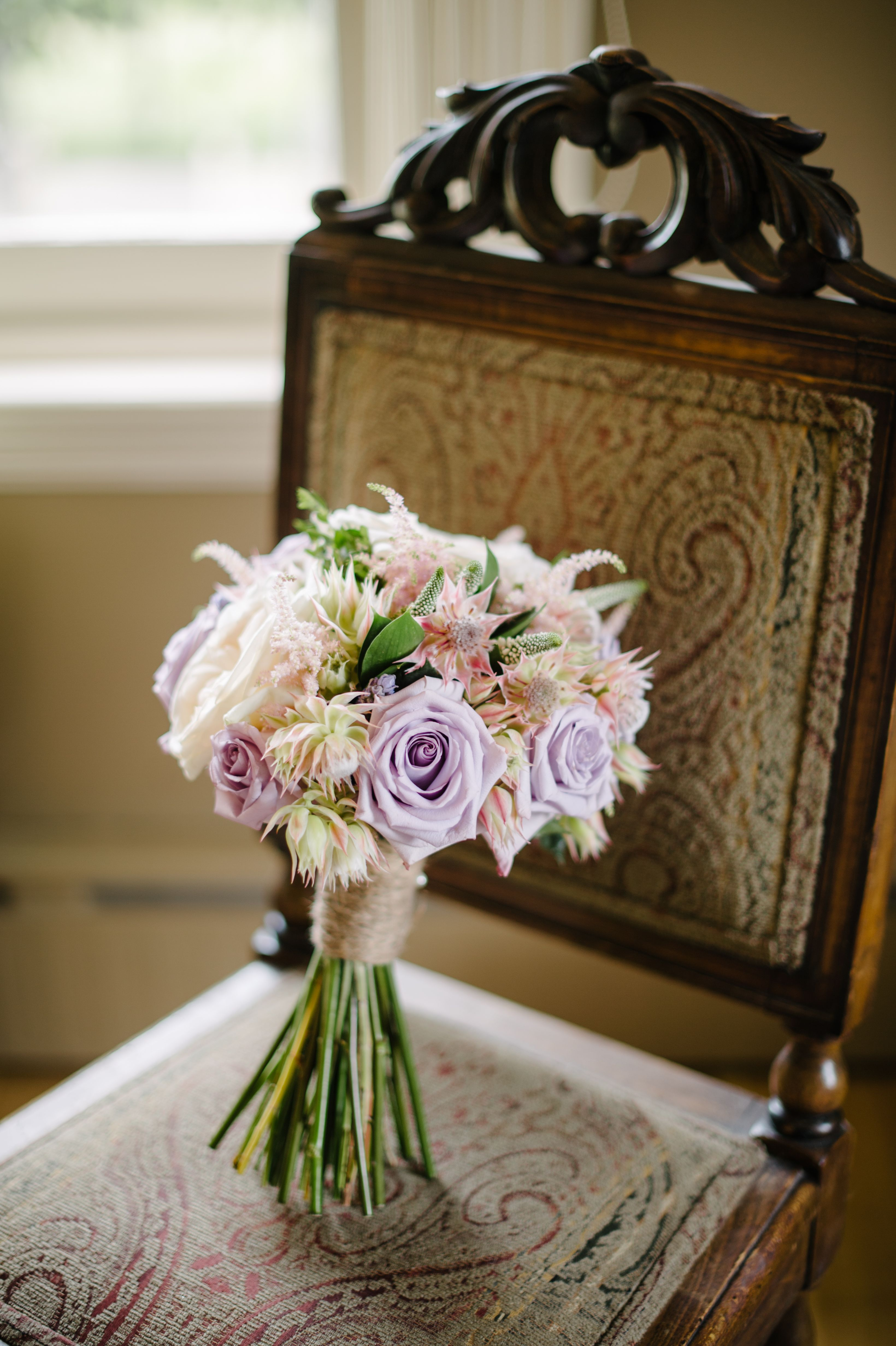 Blushing bride bouquet with Ocean Song and White O\'Hara garden roses ...