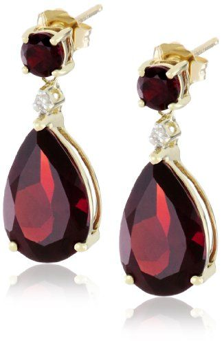 10k Yellow Gold Garnet And Diamond Drop Earrings By Curated Collection More