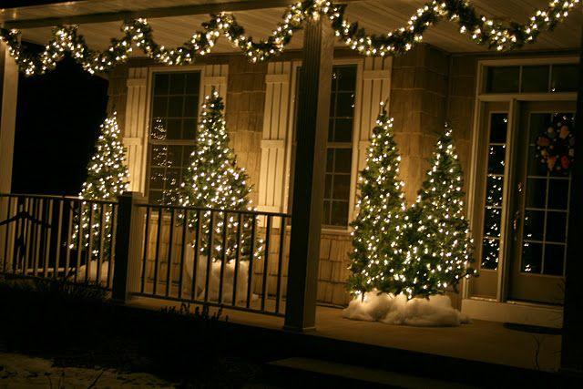 Outside Christmas trees and decor christmas Pinterest
