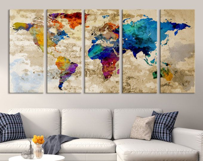 Large world map wall art canvas print navy blue watercolor world large world map wall art canvas print navy blue watercolor world map travel canvas print gumiabroncs Image collections