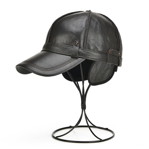 accf726338c Mens Unisex Genuine Leather Warm Baseball Cap With Ears Flaps Thick Trucker  Hat - Banggood Mobile