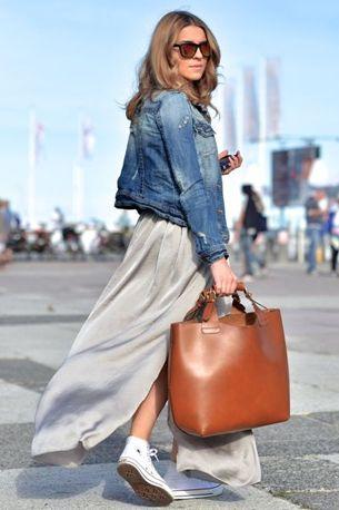 ec8acca970e how to wear maxi skirt denim jacket converse allstars - lange rok  spijkerjas hoe dragen combineren