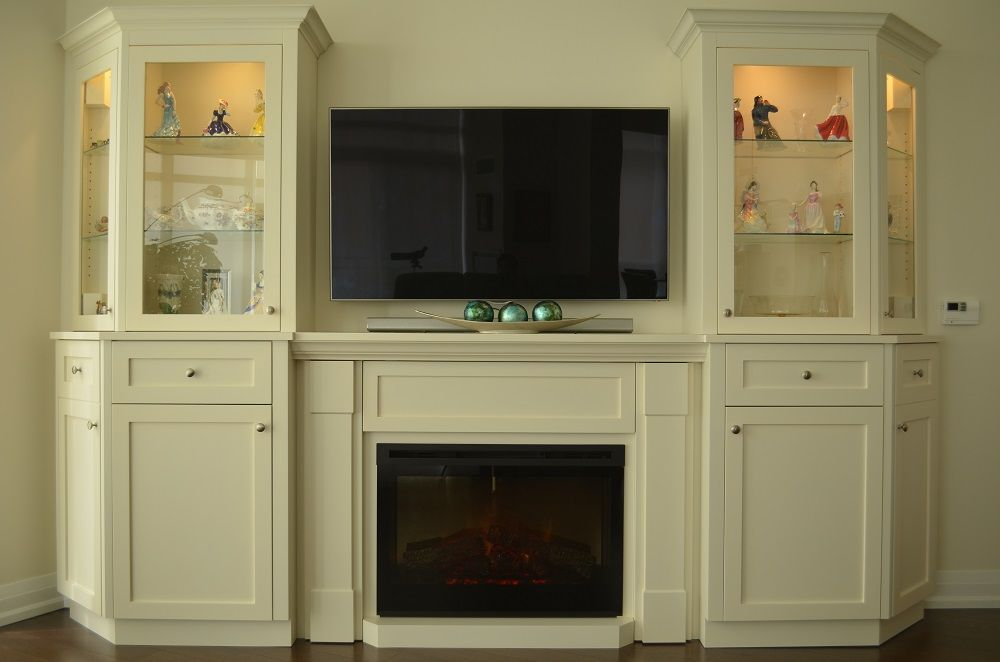 Custom wall unit with electric fireplace for a condo living room ...