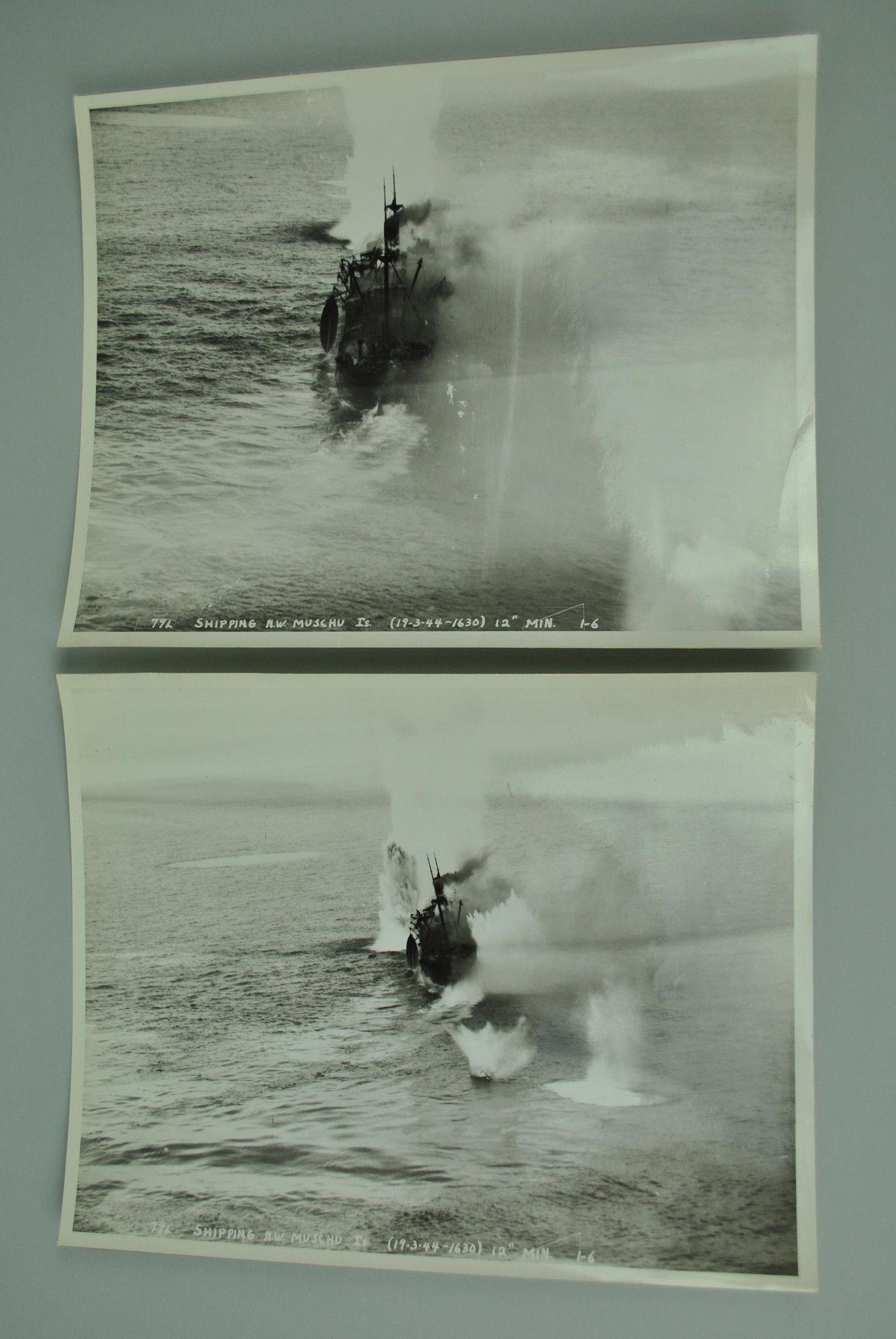 WWII Japanese Shipping Hunting Muschu Island 1944 2 Photos