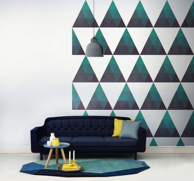Wand Streichen Muster Ideen Dreiecke Gruen Grau Farbverlauf