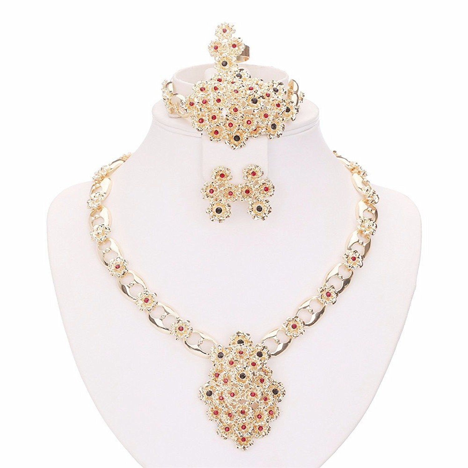Moochi k gold plated colorful flower pendant hollow chain jewelry