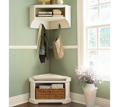 Marvelous Corner Mud Room. Maybe A Cabinet Instead Of Shelf. Also, Bench Instead Of