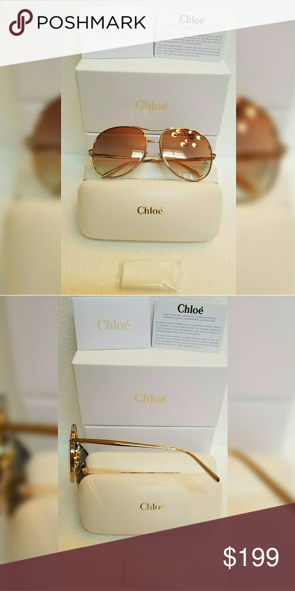 7f704ece3c6 Chloe Aviator Sunglass Style CE127S in Gold Chloe Gold Aviator Sunglass  CE127S in color 778 (Gold frame with brown rose lenses) MADE IN ITALY Brand  New ...