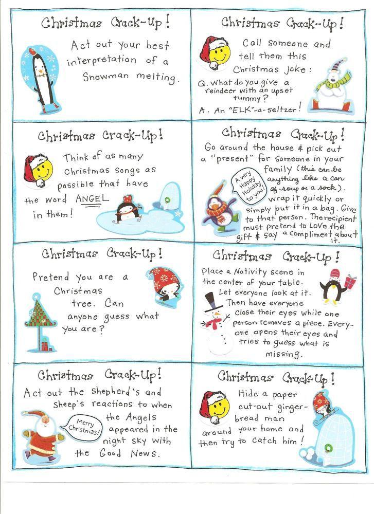 Christmas Fun Cards - FREE PRINTABLES Family night, Christmas fun