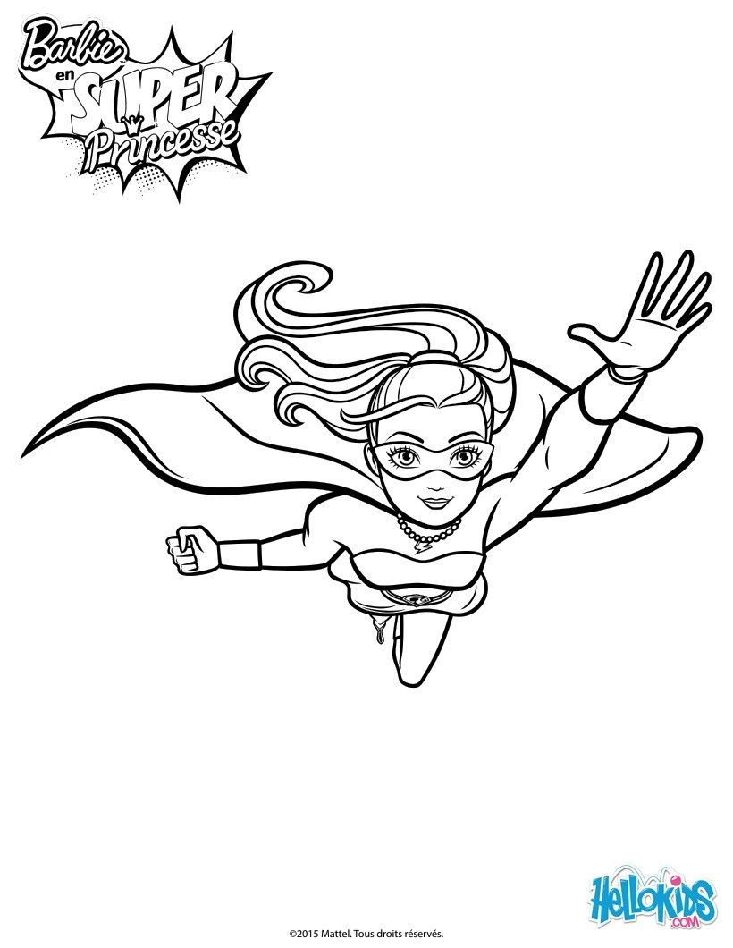 With A Little Imagination Color This Barbie Super Power In Action Printable The Most Heroic Colors Of Your Choice