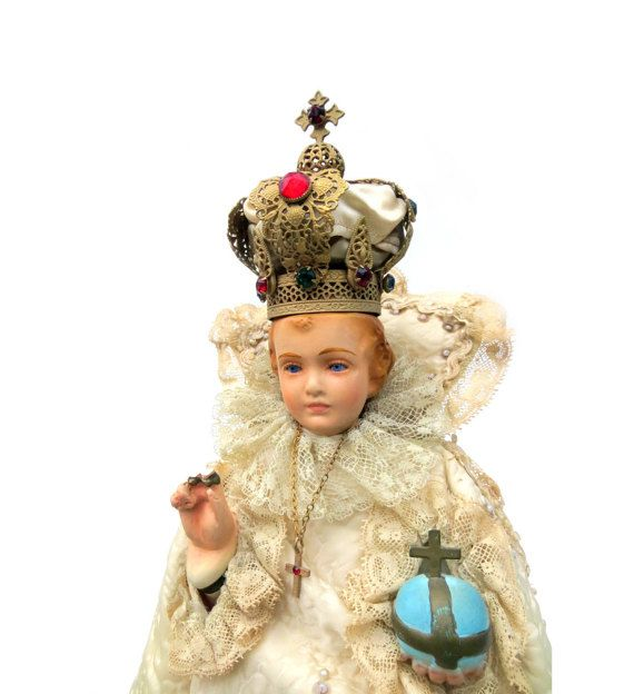 """Infant of Prague Chalkware Statue, Glass Eyes, Jeweled Brass Filigree Crown, Necklace, Beaded Vestment, 14.75"""" Antique Religious Icon"""