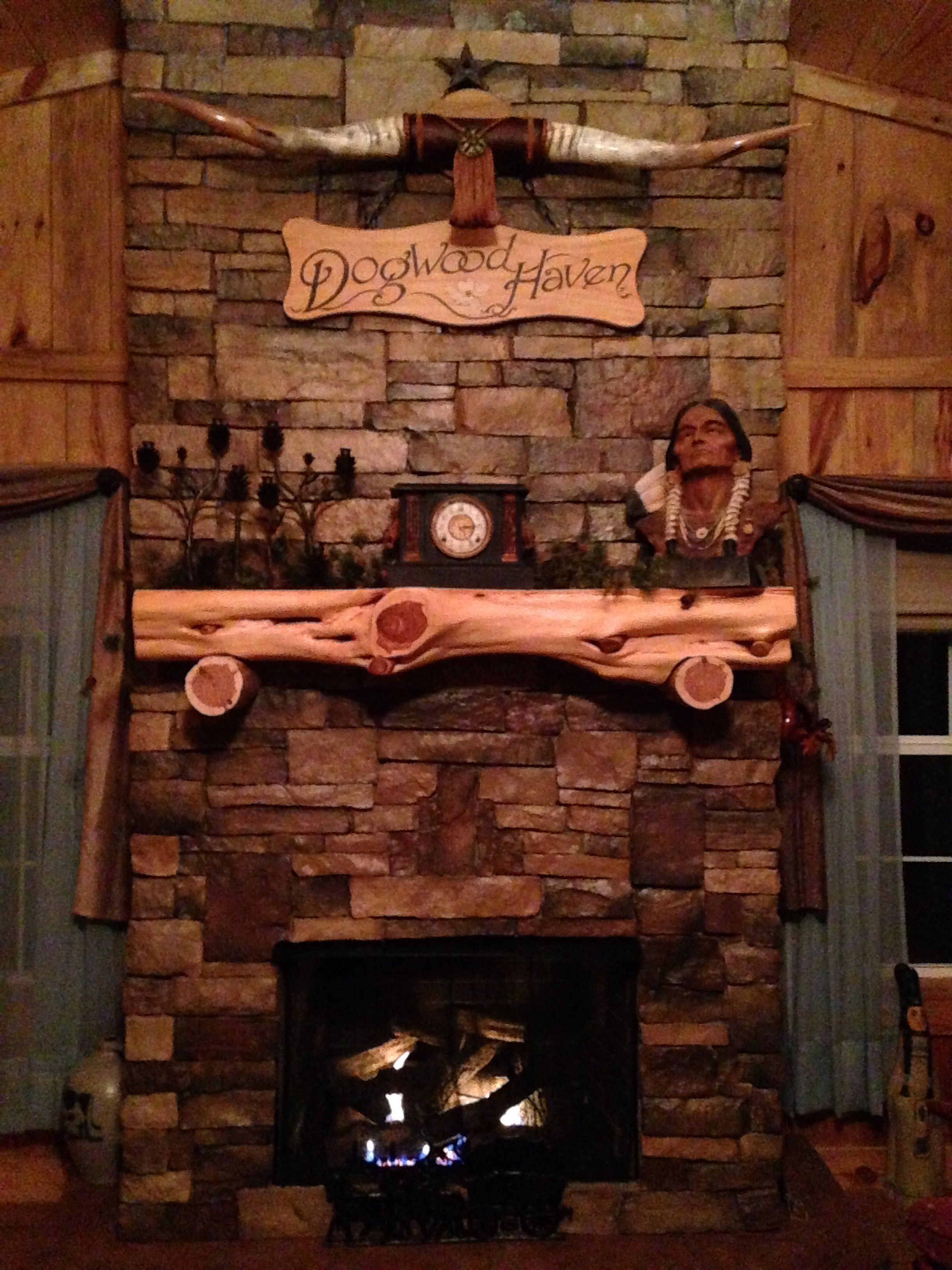 Stone Fireplace With Cedar Log Mantel House Ideas Fireplace