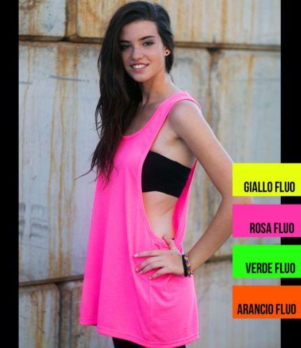 Top-camiseta-de-tirantes-mujer -fluorescente-espalda-nadador-disco-gimnasio-danza f78fb13d304b1