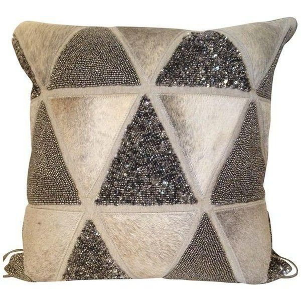 Beaded Cowhide Graphic Chic Pillow (£160) ❤ liked on Polyvore