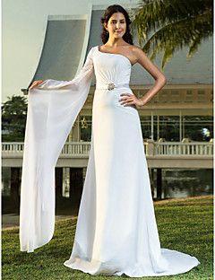 Lanting+Bride®+Sheath+/+Column+Petite+/+Plus+Sizes+Wedding+Dress+-+Chic+&+Modern+/+Elegant+&+Luxurious+Sweep+/+Brush+Train+One+Shoulder+–+USD+$+255.00
