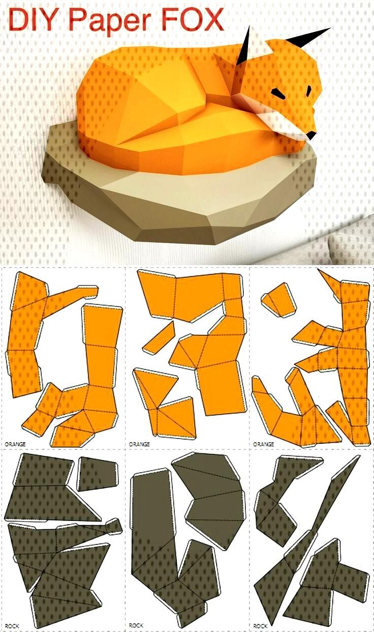 Papercraft Fox on Rock, paper model, 3D paper models, paper sculpture PDF template, low poly animal