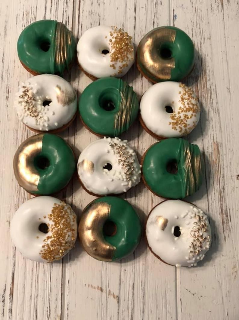 12 Green Gold White Mini Donuts Doughnuts Wedding