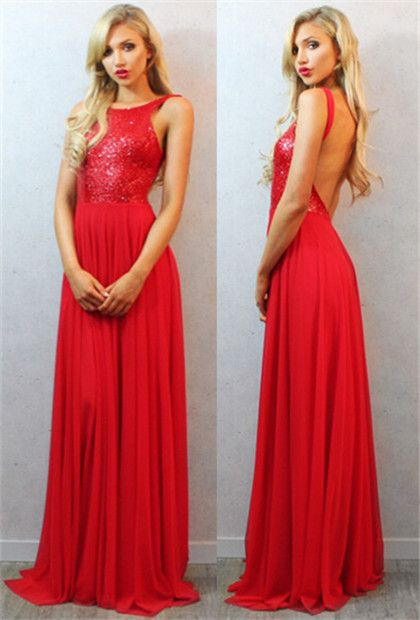 Sequin Prom Dresses,Red Prom Dress,Backless Evening Gown,Long Formal Dress,Sequined Prom Gowns,Open Backs Evening Dresses For Teens