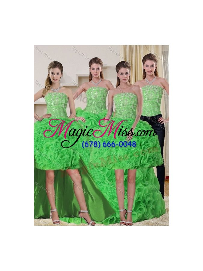wholesale spring green strapless quinceanera dress with beading and ruffles for 2015