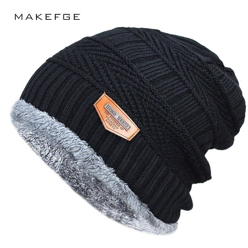 6b8f4d11f9a75 Men s winter hat 2019 fashion knitted black hats Fall Hat Thick and warm  Fuzzy  MAKEFGE  Beanie