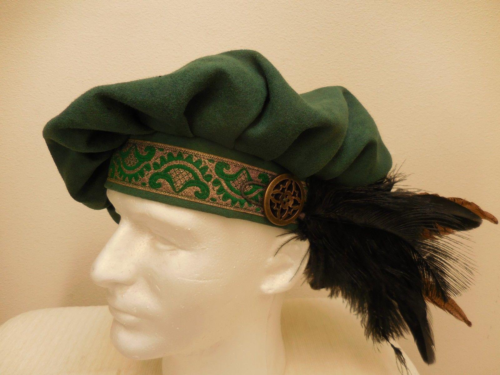 new green renaissance medieval tudor floppy muffin hat cap costume