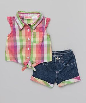 Love this Young Hearts Dark Pink Plaid Button-Up & Denim Shorts - Toddler & Girls by Young Hearts on #zulily! #zulilyfinds