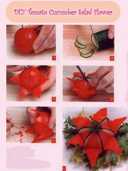 Diy Tomato Cucumber Flower For Salad Creative Food Art