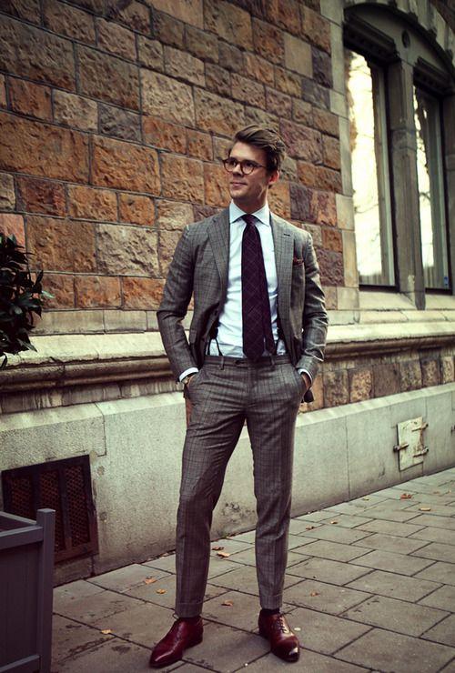 Men's Grey Check Suit, Light Blue Dress Shirt, Red Leather Oxford Shoes,  Dark Purple Plaid Tie