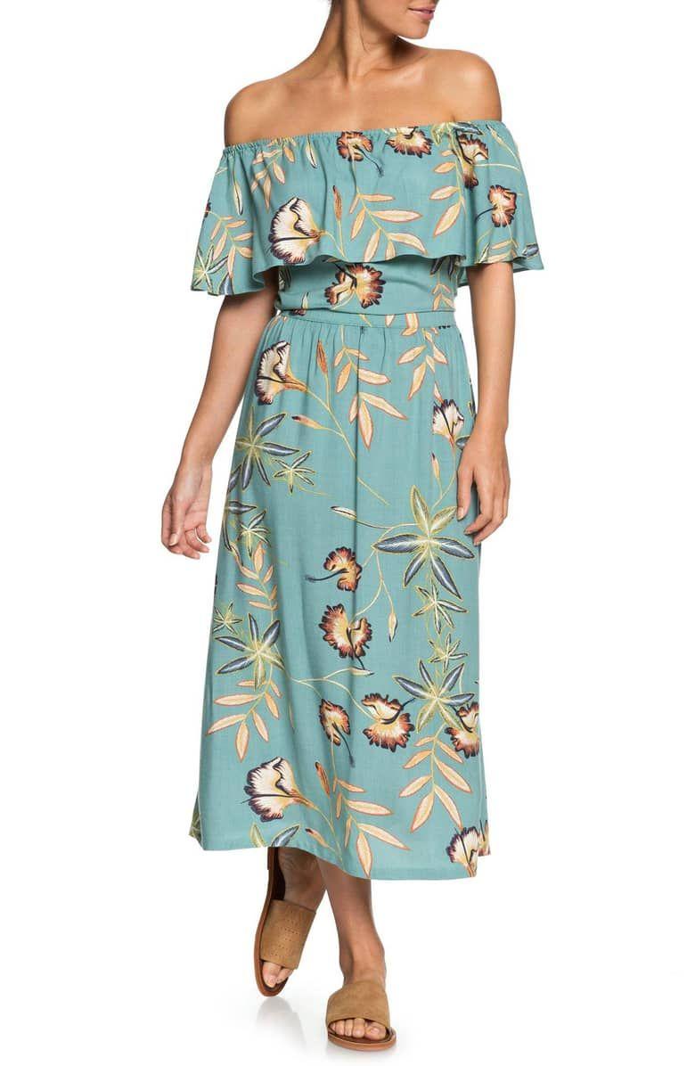 ec023b9030da Technicolor Sky Off the Shoulder Dress, Main, color, TRELLIS BIRD FLOWER  TROPICAL ATTIRE