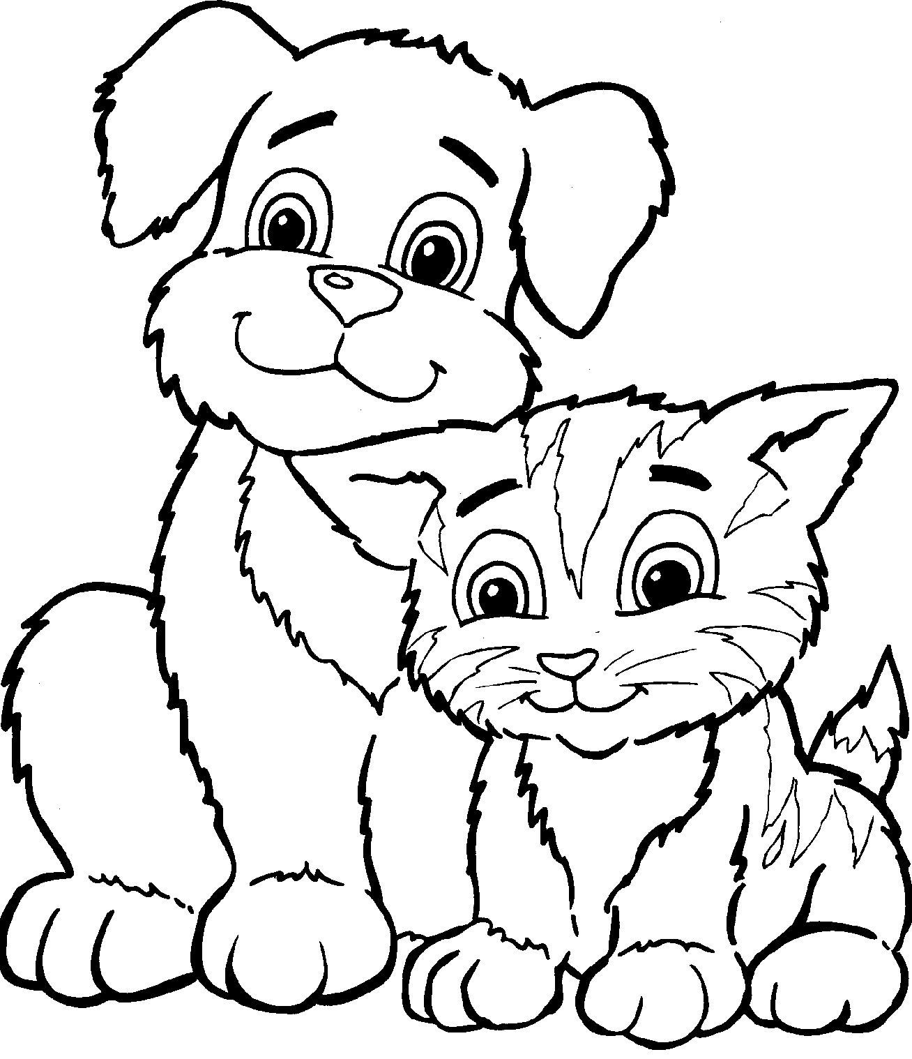 Puppies And Kittens Cute Coloring Pages