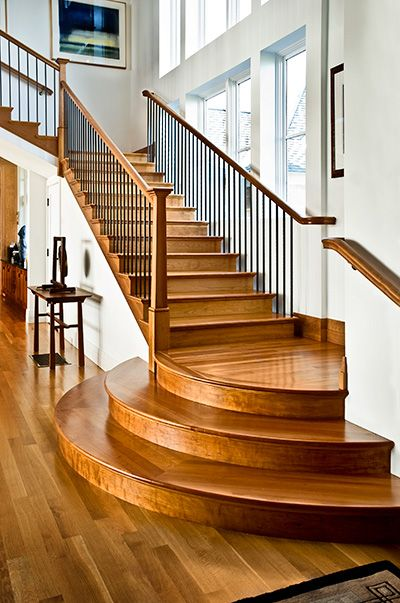 Rounded Landing Adds Custom Detail To Straight Stair Stairs