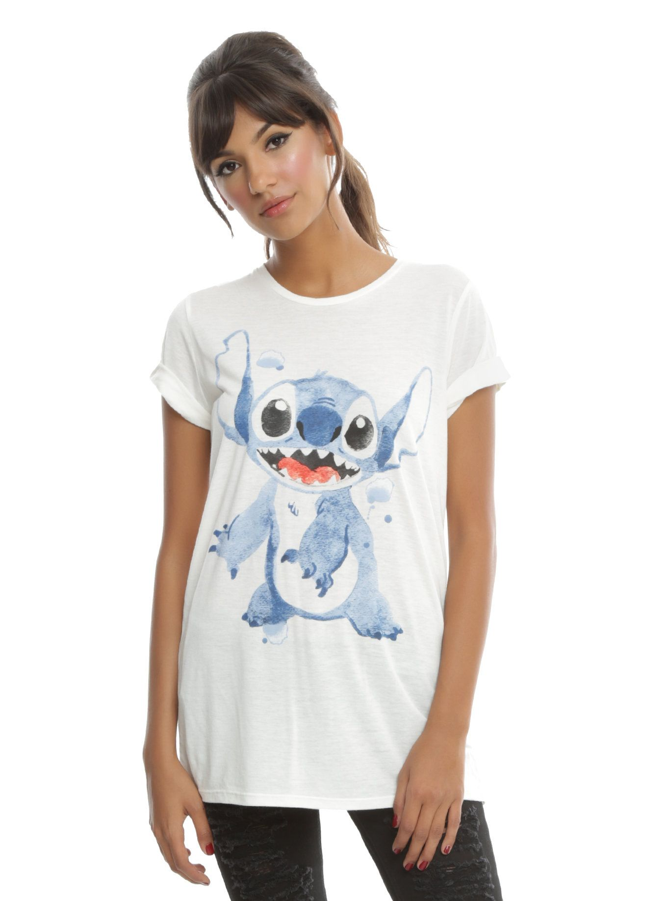 Disney Lilo Stitch Watercolor Stitch Girls T Shirt Lilo
