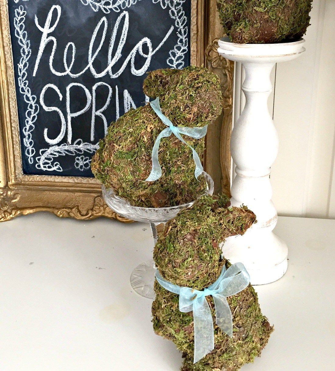 Moss Covered Bunnies for Easter and Spring Decor DIY Easter Decor apurdylittlehouse.com