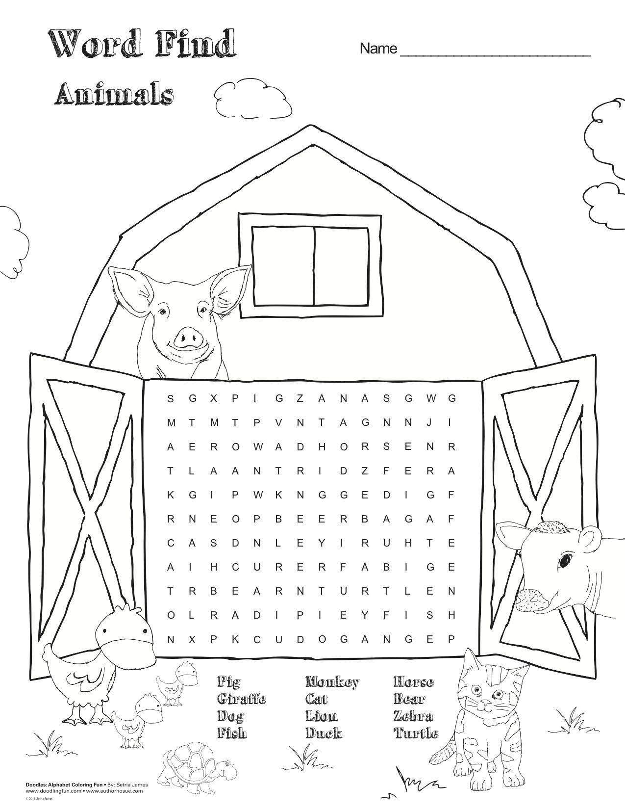 free printable farm animal word find games activities kids parents home delightful. Black Bedroom Furniture Sets. Home Design Ideas