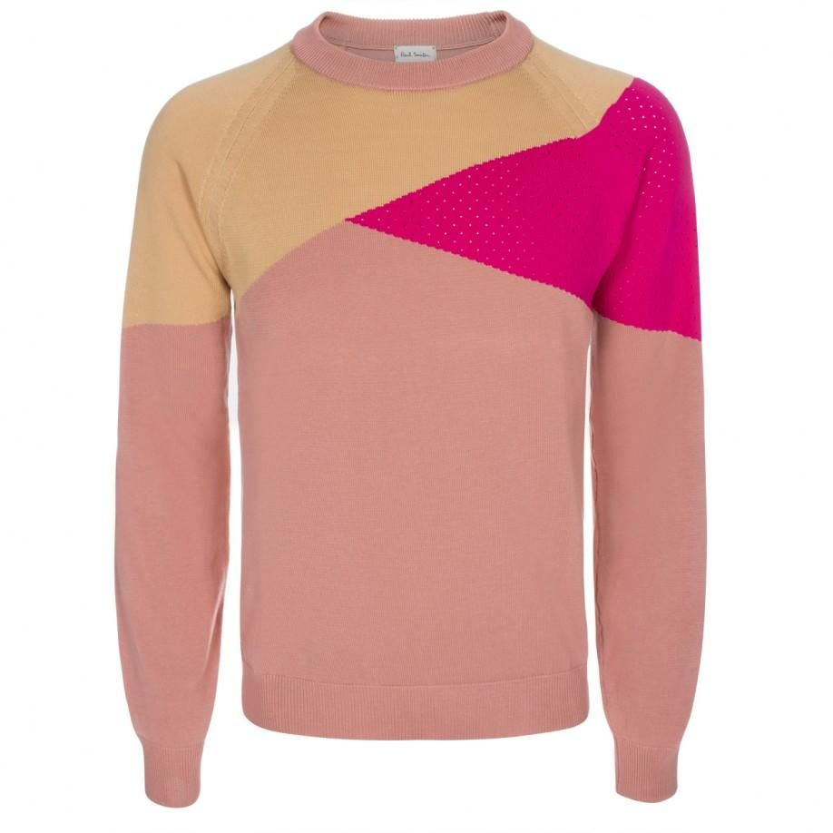 Paul Smith Men's Knitwear | Pink Colour-Block Knitted Sweater ...