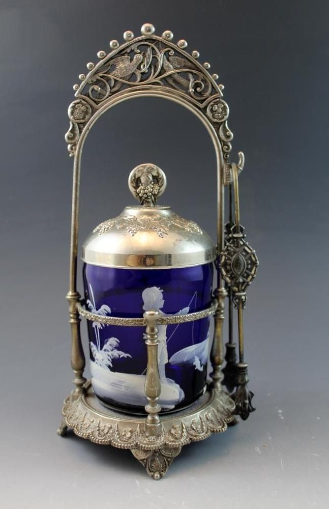 Antique+Victorian+SilverPlate+Pickle+Castor+w/+Mary+Gregory+Cobalt+Glass+Insert+